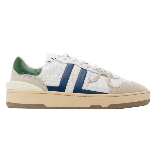 Lanvin LANVIN WHITE AND BLUE LEATHER CLAY SNEAKERS