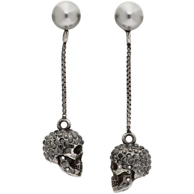 Alexander McQueen Silver Pearl Skull Earrings  - buy with discount