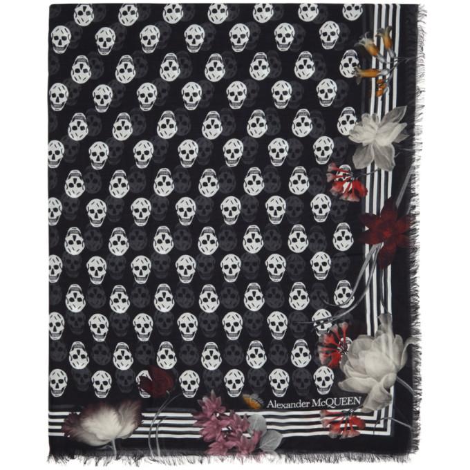 Alexander McQueen Foulard a motif floral noir et blanc Biker