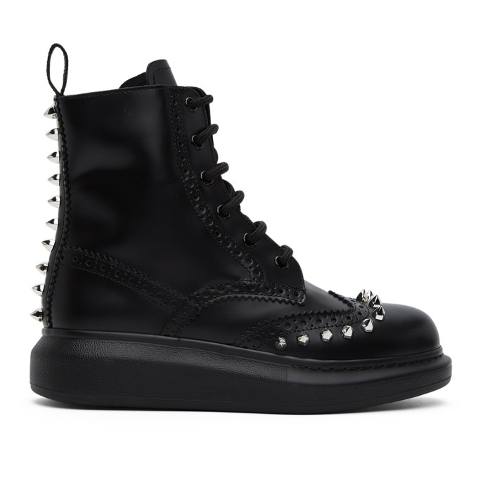 Alexander Mcqueen Leathers Black Stud Leather Hybrid Brogue Boots