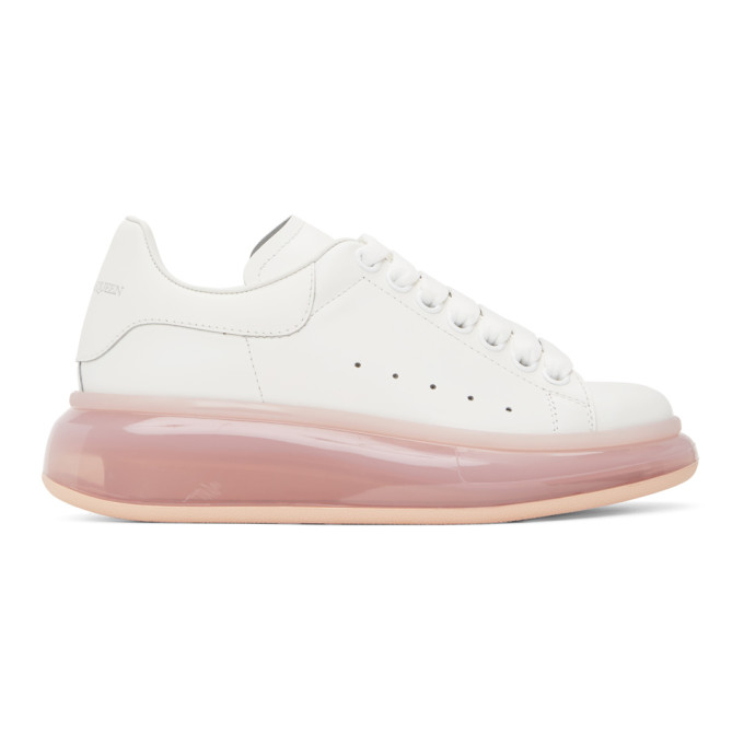 ALEXANDER MCQUEEN ALEXANDER MCQUEEN WHITE AND PINK CLEAR SOLE OVERSIZED SNEAKERS
