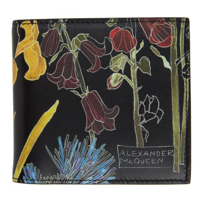 Alexander McQueen ブラック フローラル バイフォールド ウォレット