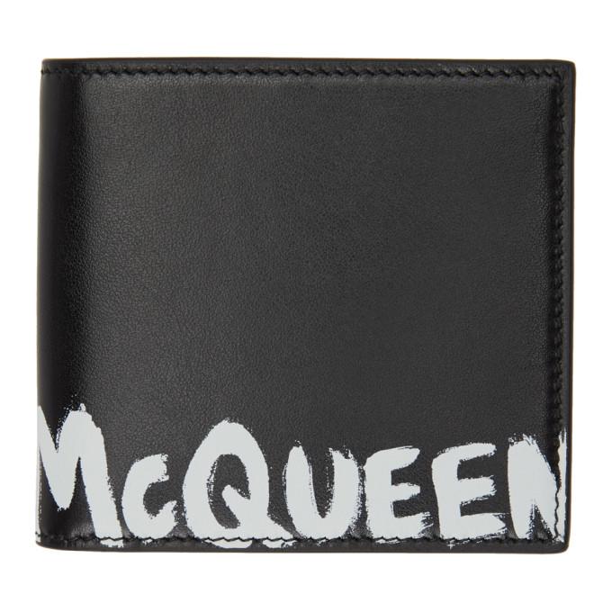 Alexander McQueen ブラック Graffiti バイフォールド ウォレット
