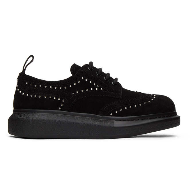 SSENSE Exclusive Black Suede Studded Hybrid Brogues