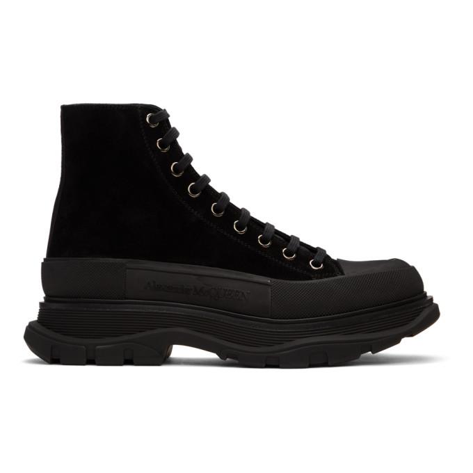 Alexander McQueen 黑色 Tread Slick 绒面革高帮运动鞋
