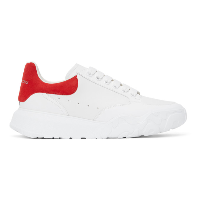 ALEXANDER MCQUEEN ALEXANDER MCQUEEN WHITE AND RED COURT TRAINER SNEAKERS