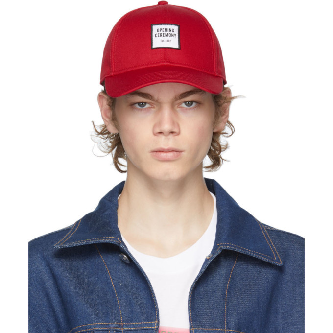 Opening Ceremony OPENING CEREMONY RED EMBROIDERED LOGO CAP