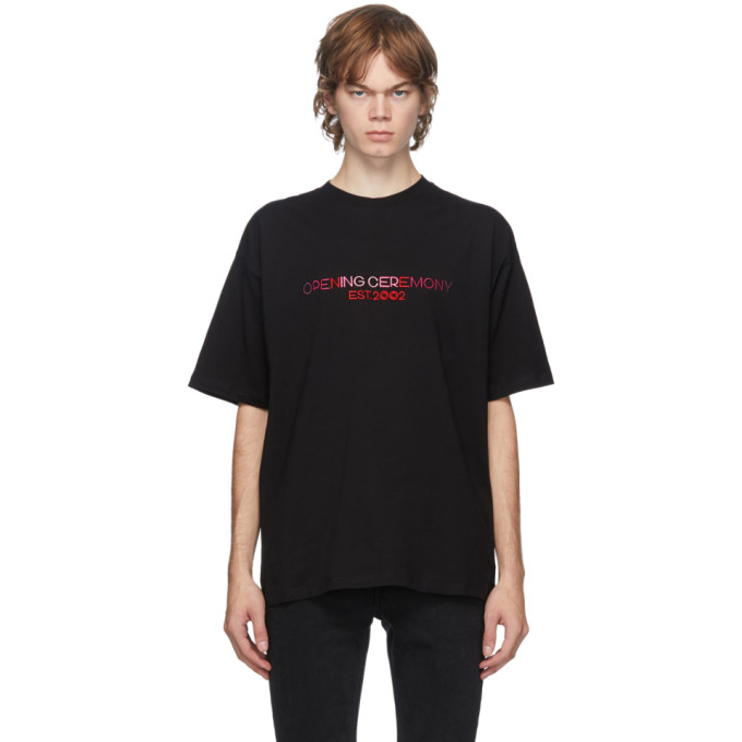 OPENING CEREMONY OPENING CEREMONY BLACK EMBROIDERED LOGO T-SHIRT