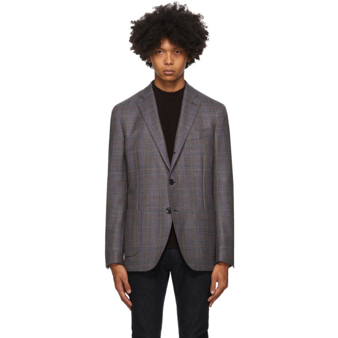Etro 灰色格纹初剪羊毛西装外套