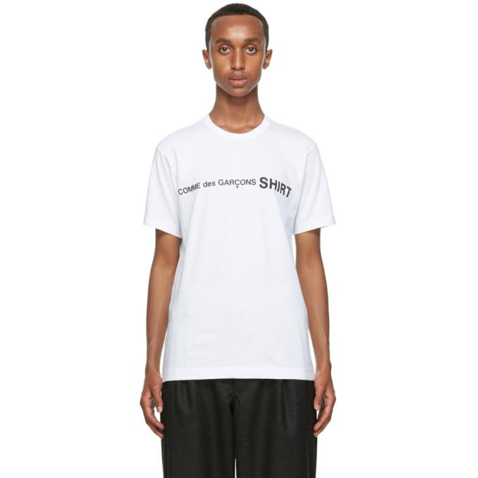 Comme des Garcons Shirt 白色徽标 T 恤
