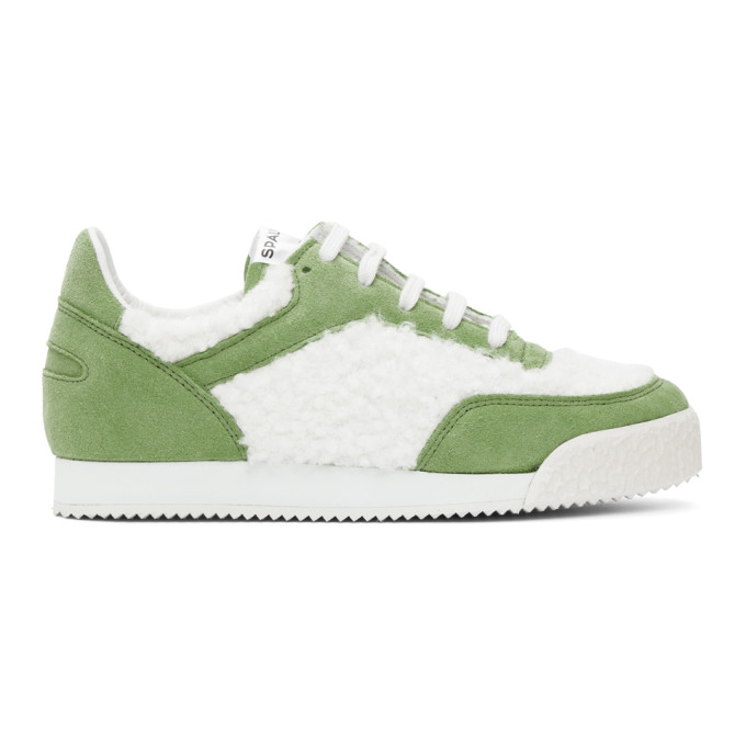Comme Des Garçons Shirt COMME DES GARCONS SHIRT GREEN AND WHITE SPALWART EDITION PITCH LOW SNEAKERS