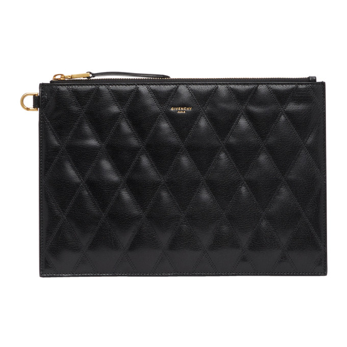 Givenchy GIVENCHY BLACK QUILTED MEDIUM GV3 POUCH