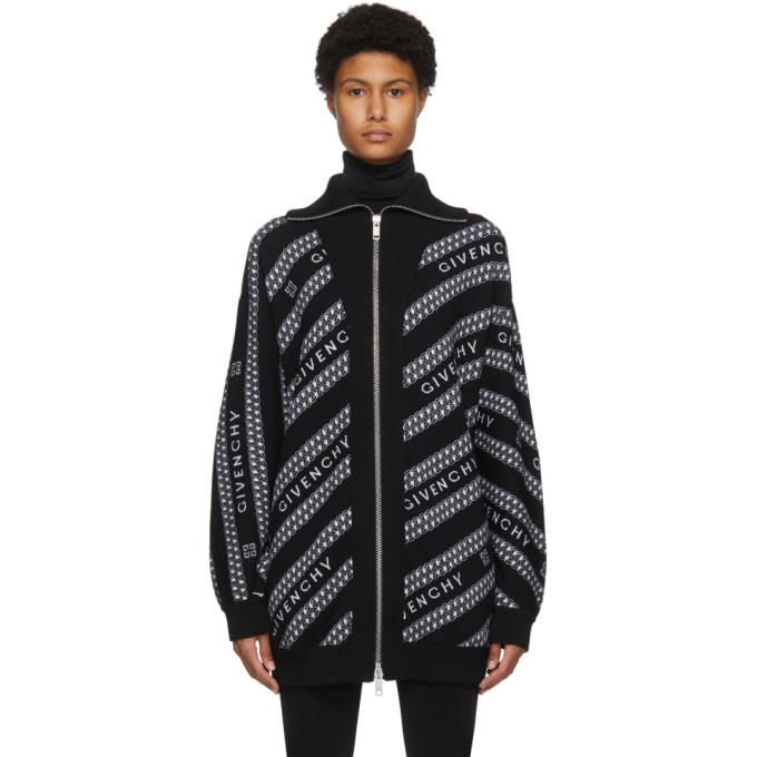 Givenchy GIVENCHY BLACK WOOL CHAIN ZIP SWEATER