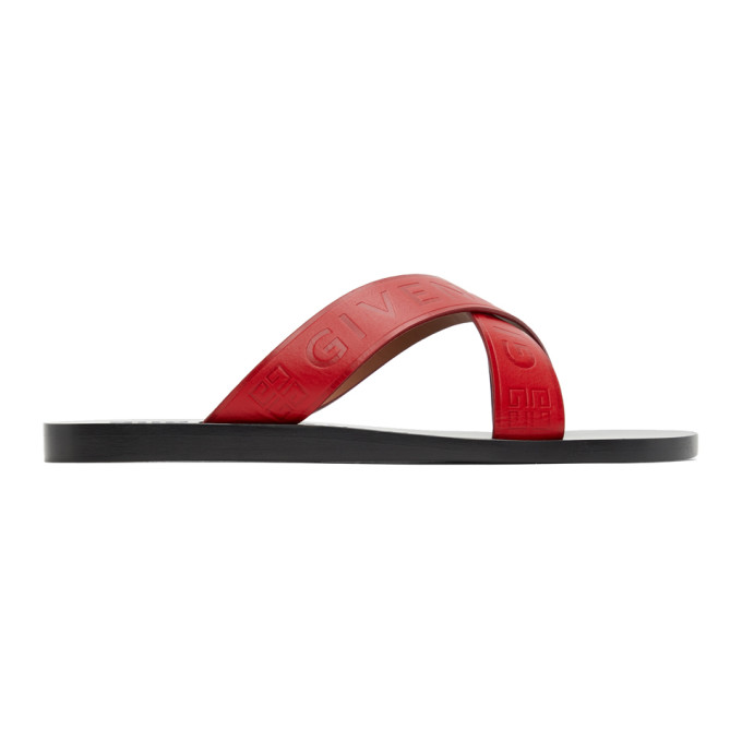 Givenchy Flats GIVENCHY RED CRISS-CROSS LOGO SANDALS