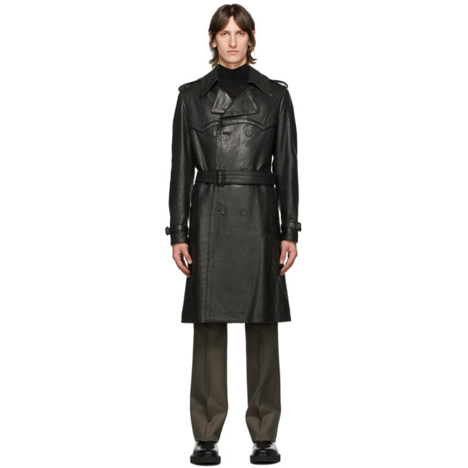 Givenchy Black Leather Belted Trench Coat