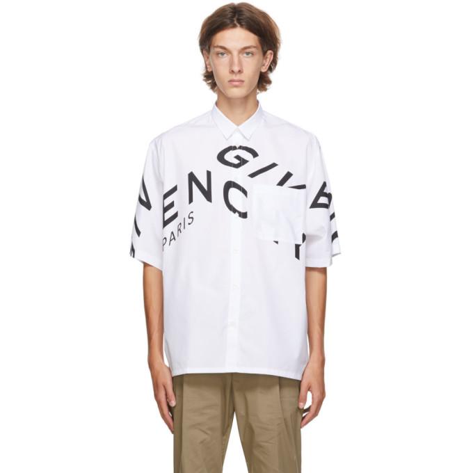Givenchy GIVENCHY WHITE REFRACTED LOGO SHORT SLEEVE SHIRT