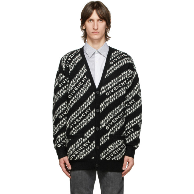 GIVENCHY GIVENCHY BLACK AND WHITE OVERSIZED CHAIN CARDIGAN
