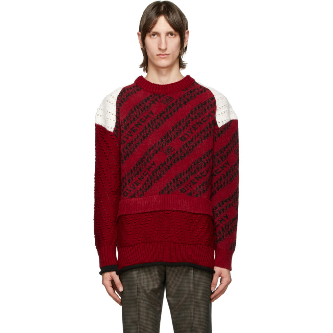 GIVENCHY RED & WHITE CHAIN PATCHWORK SWEATER