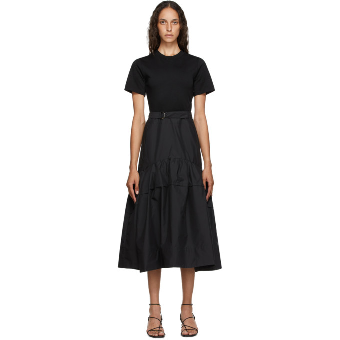 31 Phillip Lim Black Belted Shirred T Shirt Dress 202283F05501505