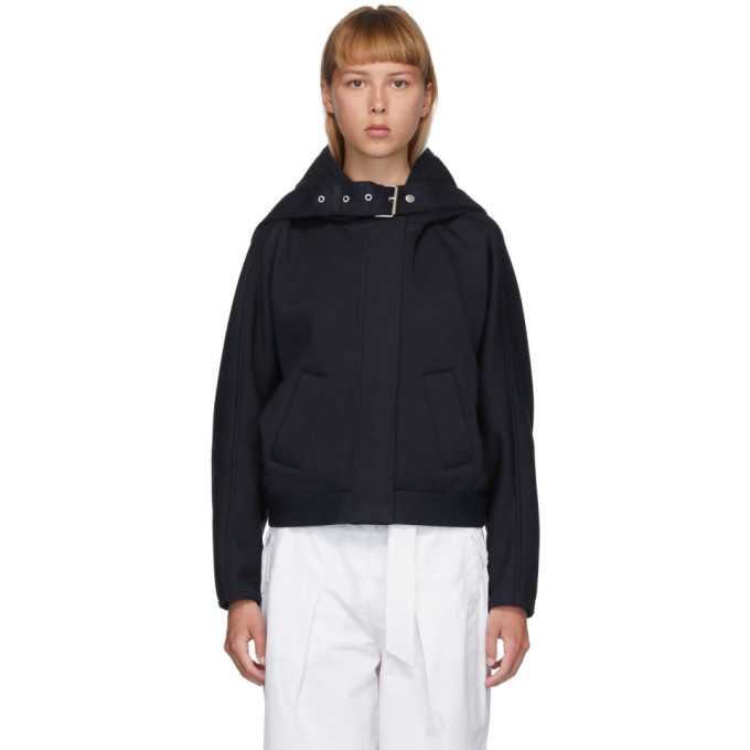 31 Phillip Lim Navy Buckle Strap Hooded Jacket 202283F06300303
