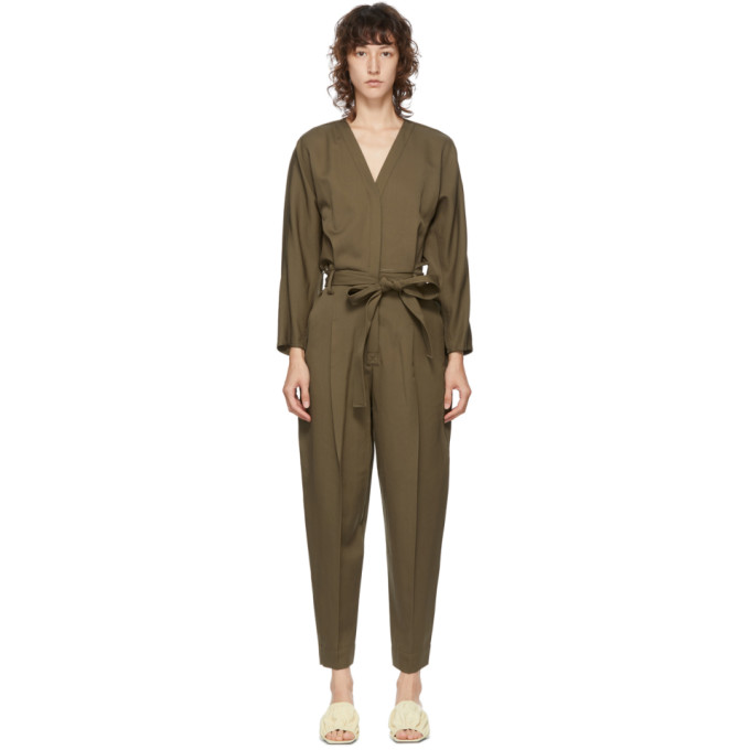 31 Phillip Lim Green Wool Belted Jumpsuit 202283F07002704