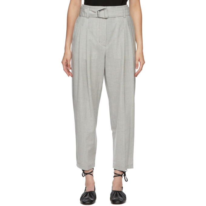 31 Phillip Lim Grey Wool Chambray Belted Trousers 202283F08700403