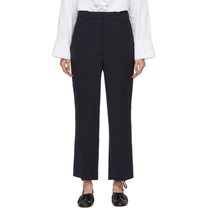 31 Phillip Lim Navy Cady Heavy Relaxed Trousers 202283F08700605