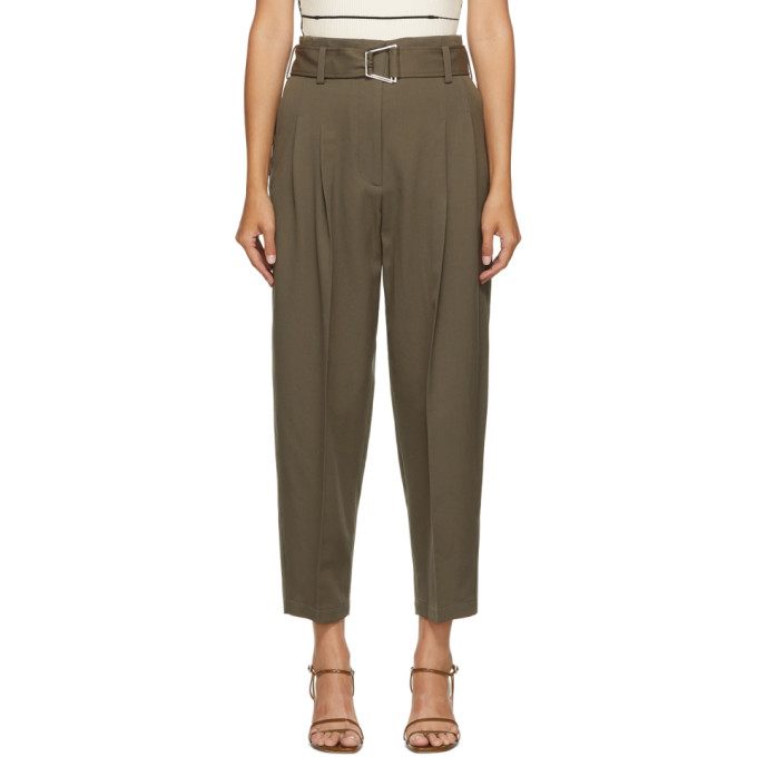 31 Phillip Lim Khaki Wool Utility Belt Trousers 202283F08700704