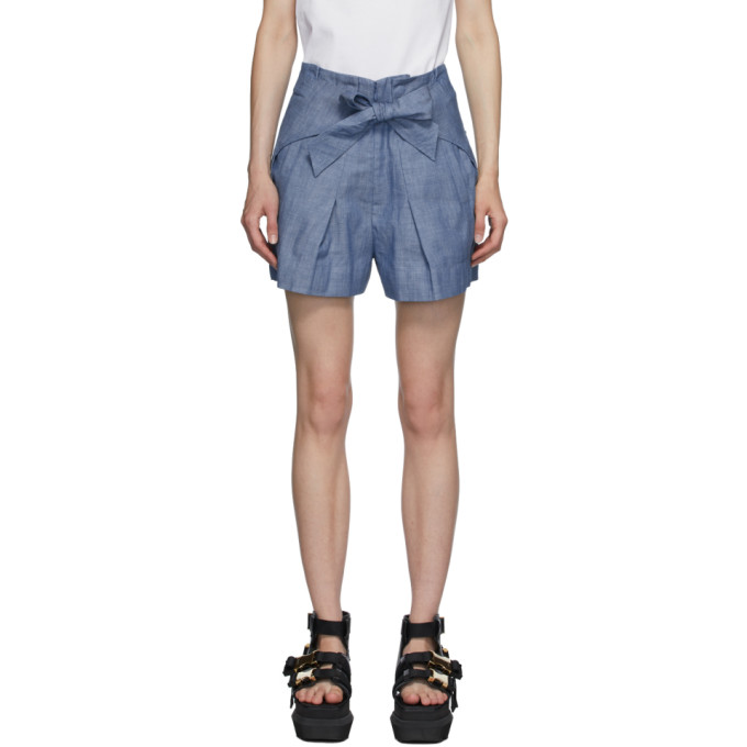 31 Phillip Lim Blue Chambray Front Tie Shorts 202283F08800304