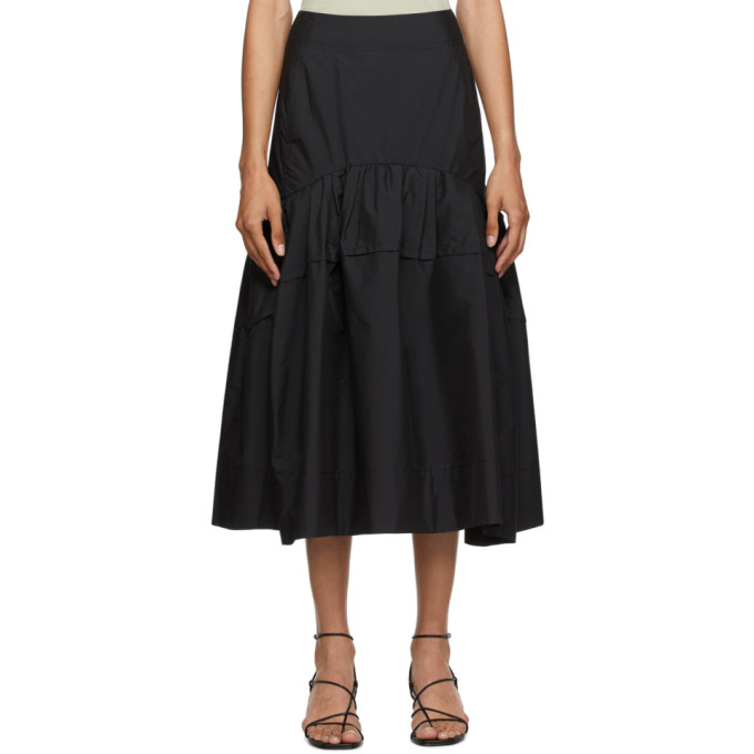31 Phillip Lim Black Shirred Midi Skirt 202283F09201402
