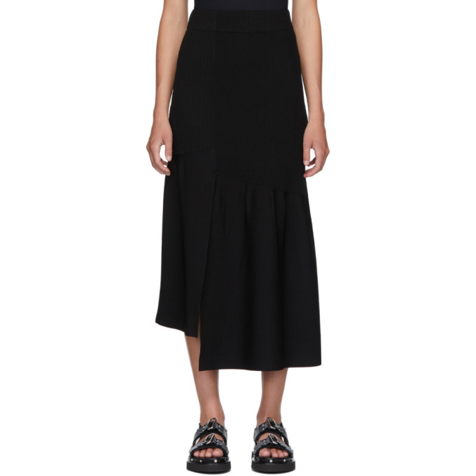 31 Phillip Lim Black Ribbed Asymmetric Skirt 202283F09201601