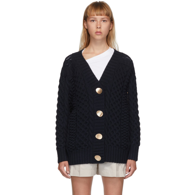31 Phillip Lim Navy Wool Cable Knit Cardigan 202283F09503001