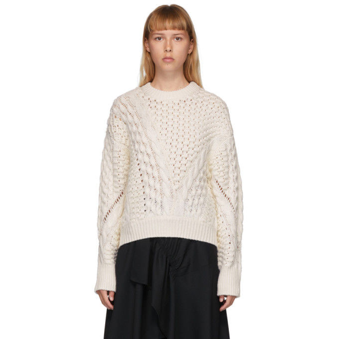3.1 Phillip Lim 3.1 PHILLIP LIM WHITE WOOL CABLE KNIT SWEATER