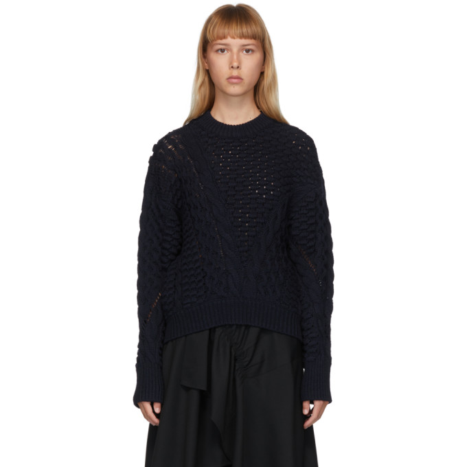 31 Phillip Lim Navy Wool Cable Knit Sweater 202283F09601701