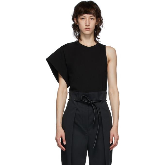 31 Phillip Lim Black Asymmetric Sleeve T Shirt 202283F11000403