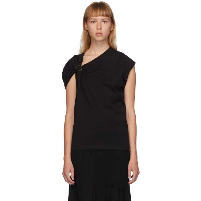 31 Phillip Lim Black Gathered Shoulder T Shirt 202283F11103703