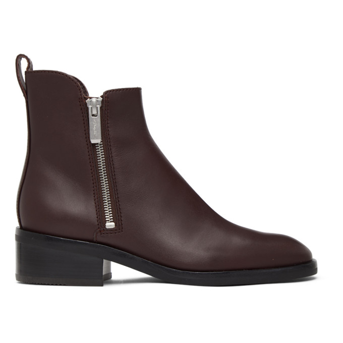 31 Phillip Lim Burgundy Alexa Ankle Boots 202283F11309703