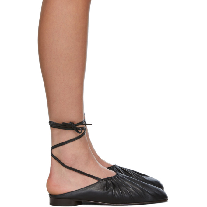 31 Phillip Lim Black Nadia Lace Up Ballet Loafers 202283F12110004