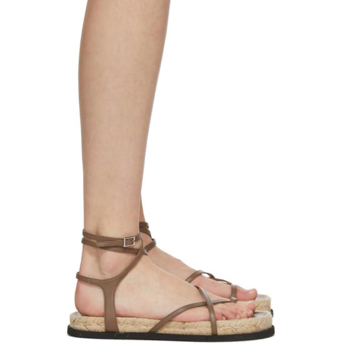 31 Phillip Lim Brown Yasmine Strappy Espadrille Sandals 202283F12409405