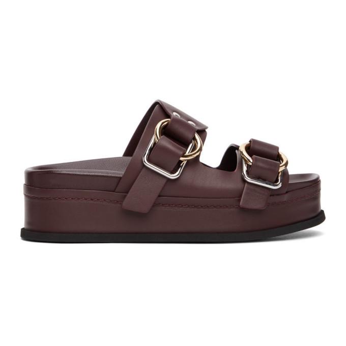 31 Phillip Lim Purple Freida Double Buckle Platform Sandals 202283F12409601