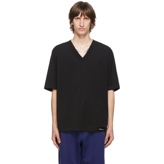 31 Phillip Lim Black Oversized Optic Boxy V Neck T Shirt 202283M21301502