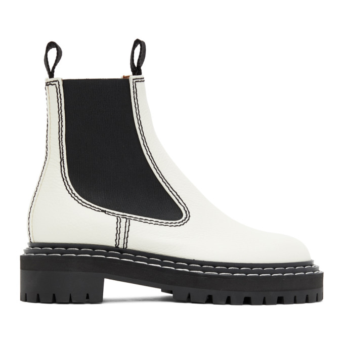 White Leather Chelsea Boots