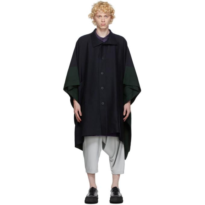 132 5 ISSEY MIYAKE Navy Wool Coat 202302M17600401
