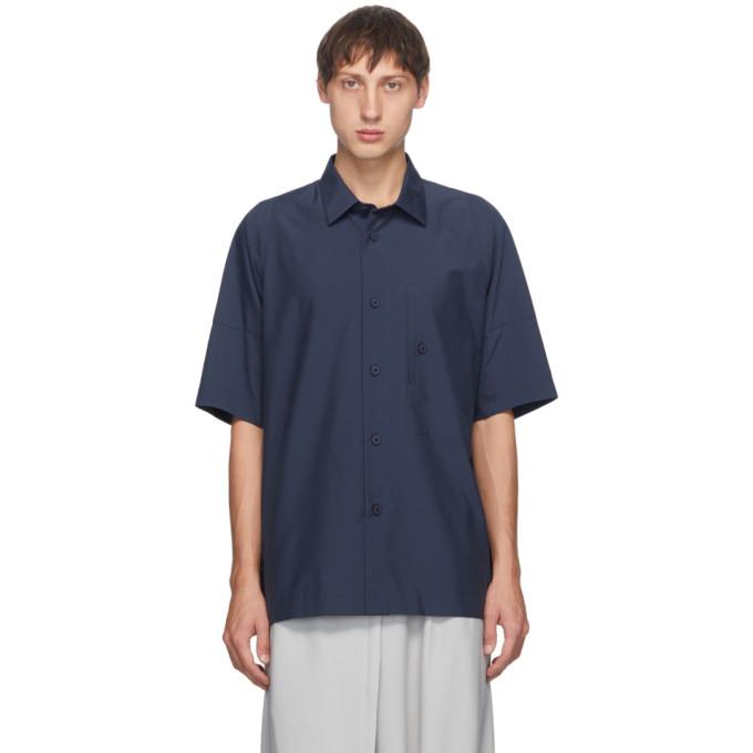 132 5 ISSEY MIYAKE Navy Men 1 Short Sleeve Shirt 202302M19200601