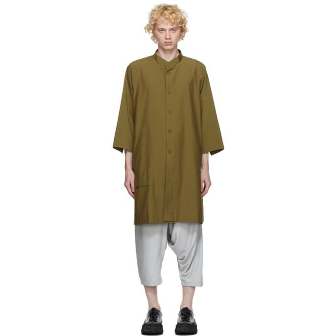 132 5 ISSEY MIYAKE Khaki Cotton Poplin Shirt 202302M19201001