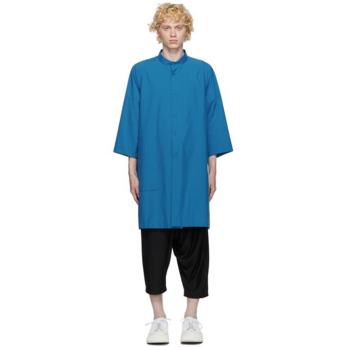 132 5 ISSEY MIYAKE Blue Cotton Poplin Shirt 202302M19201101
