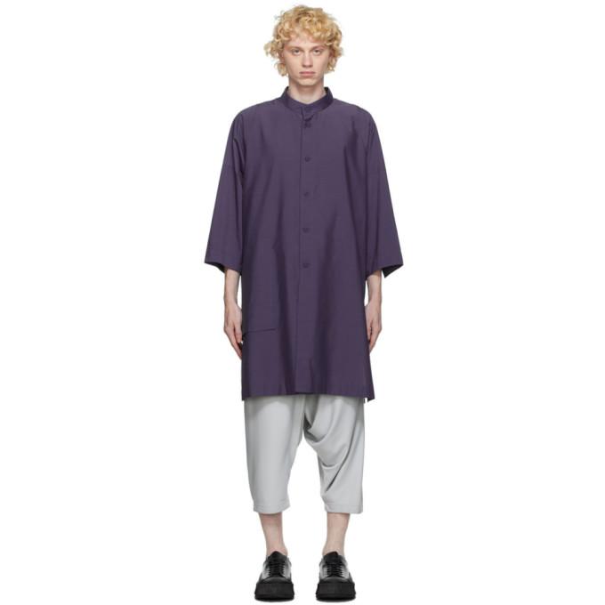 132 5 ISSEY MIYAKE Purple Cotton Poplin Shirt 202302M19201201