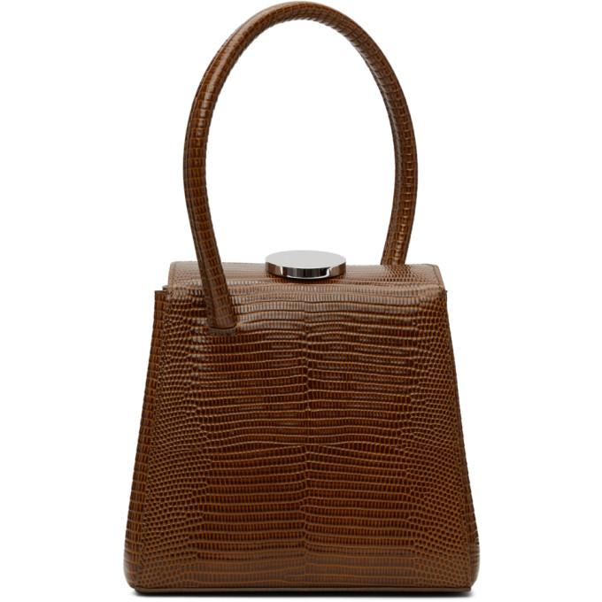 Little Liffner Mademoiselle Lizard-embossed Leather Top Handle Bag In Nougat