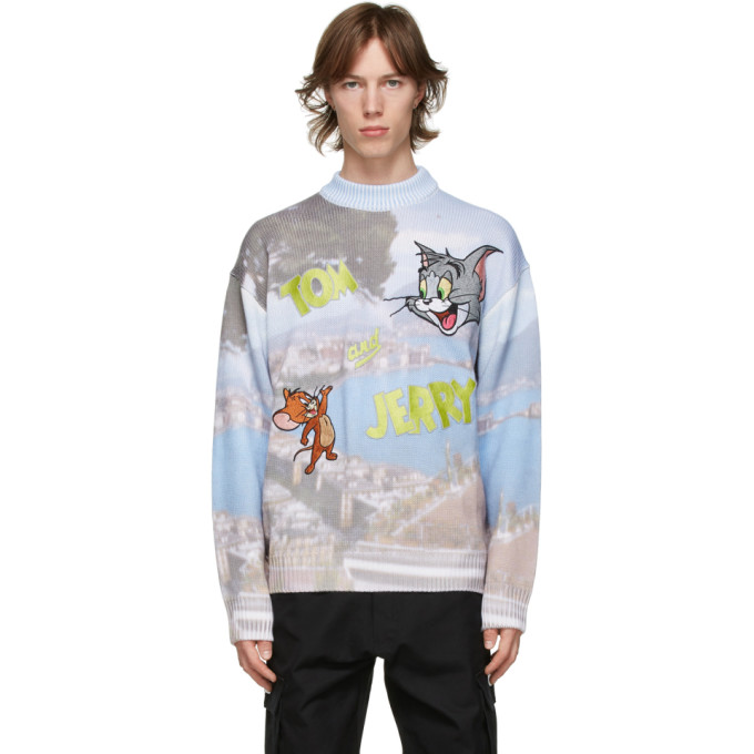 GCDS GCDS GREY AND BLUE TOM AND JERRY EDITION NAPOLI LOGO SWEATER