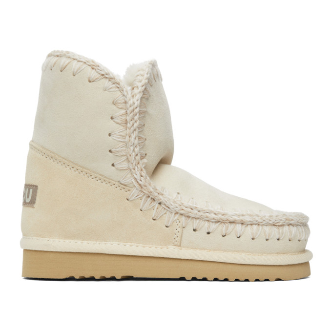 Mou SSENSE Exclusive Off-White 18 Ankle Boots